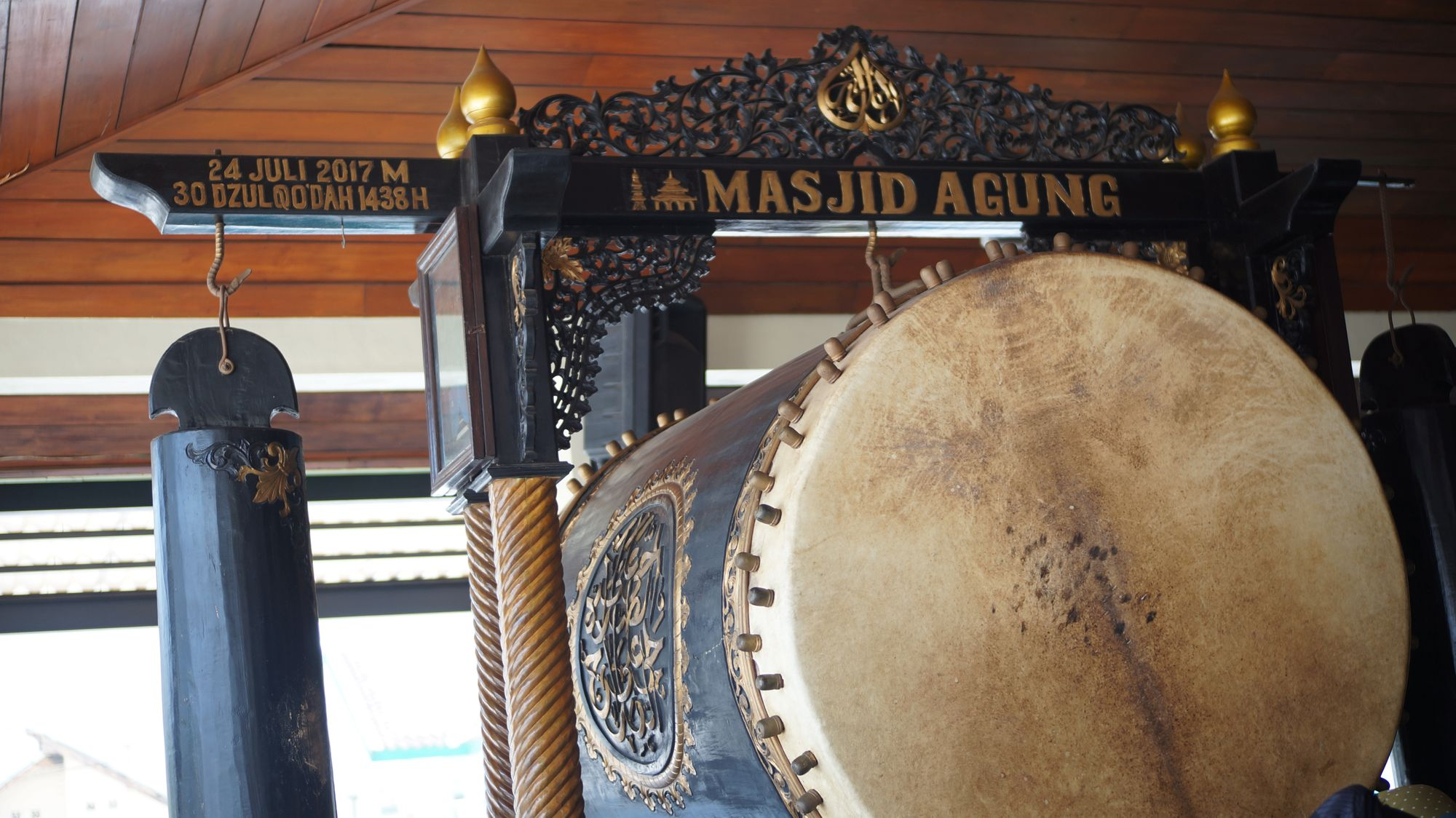 The traditional beduk drum in the Demak Great Mosque