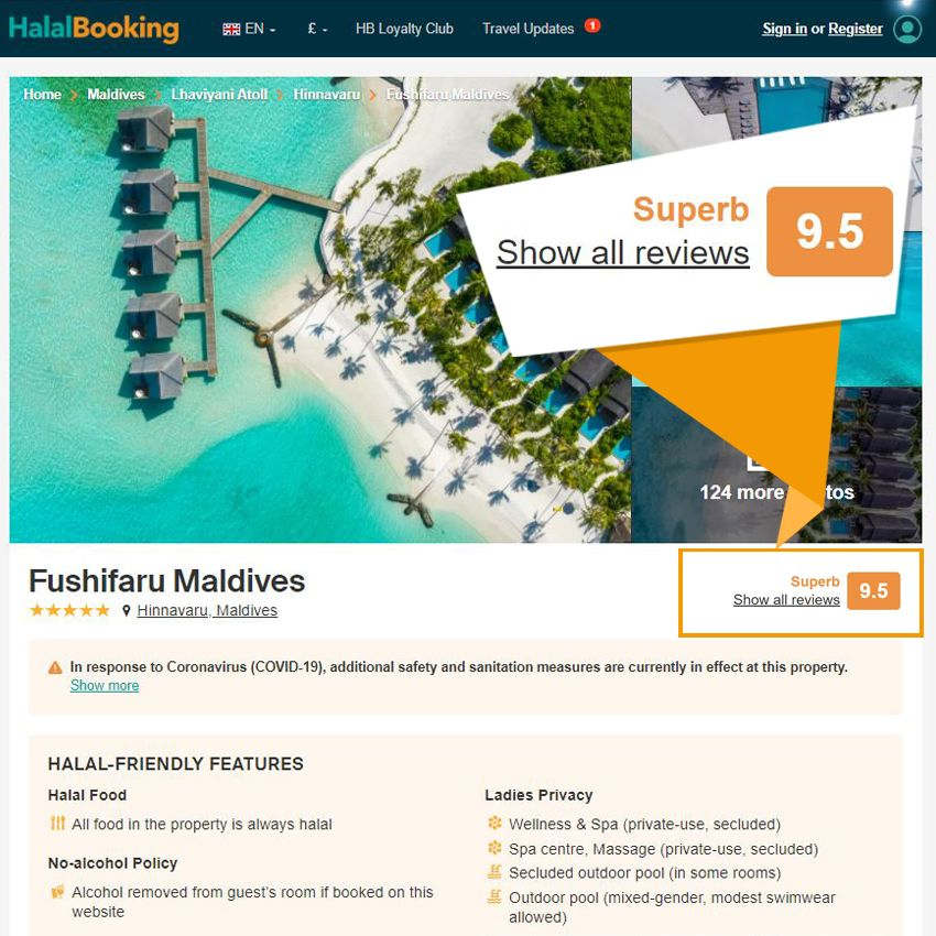 Review score provided by verified HalalBooking customers