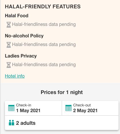 Hotel's halal-friendliness data is pending