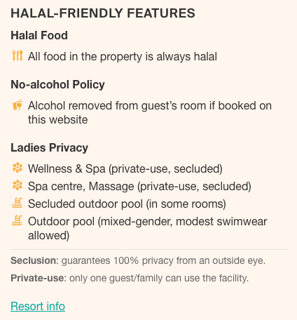 Hotel's halal-friendliness data is available