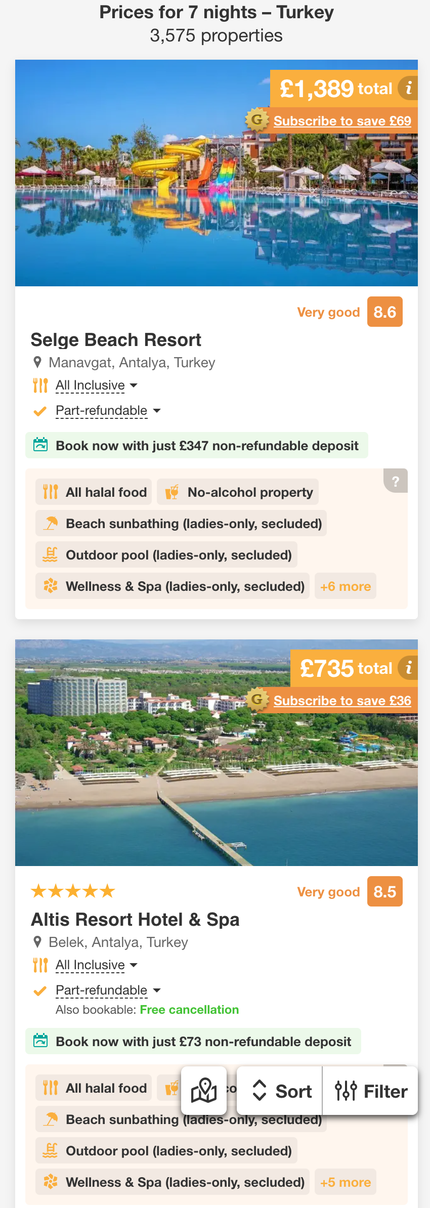 Search results with 'Free cancellation' or 'Book now pay later' options