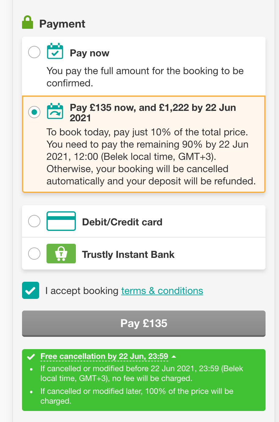 Book with low deposit