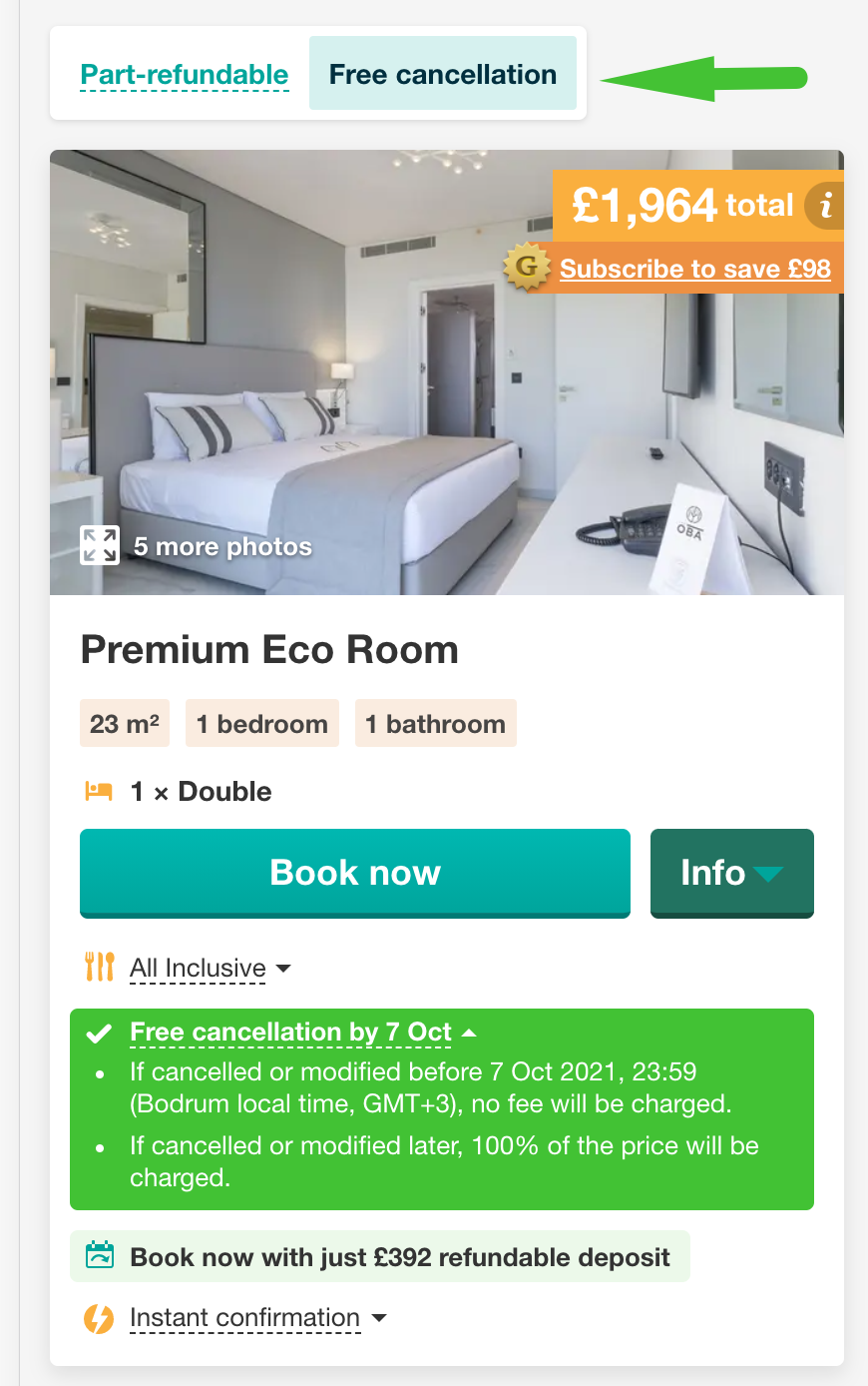 Free cancellation policy
