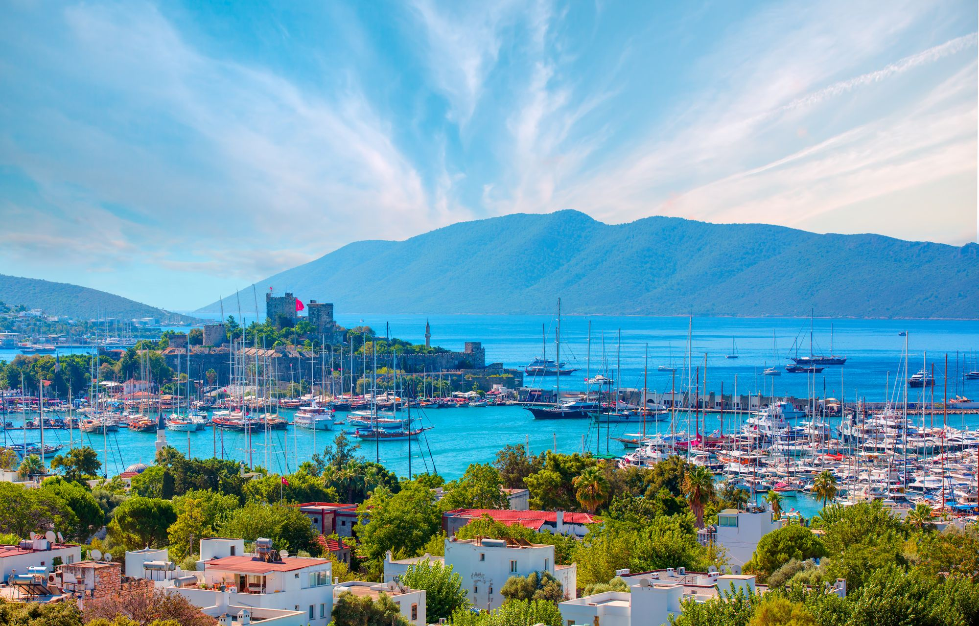 Saint Peter Castle and marina in Bodrum