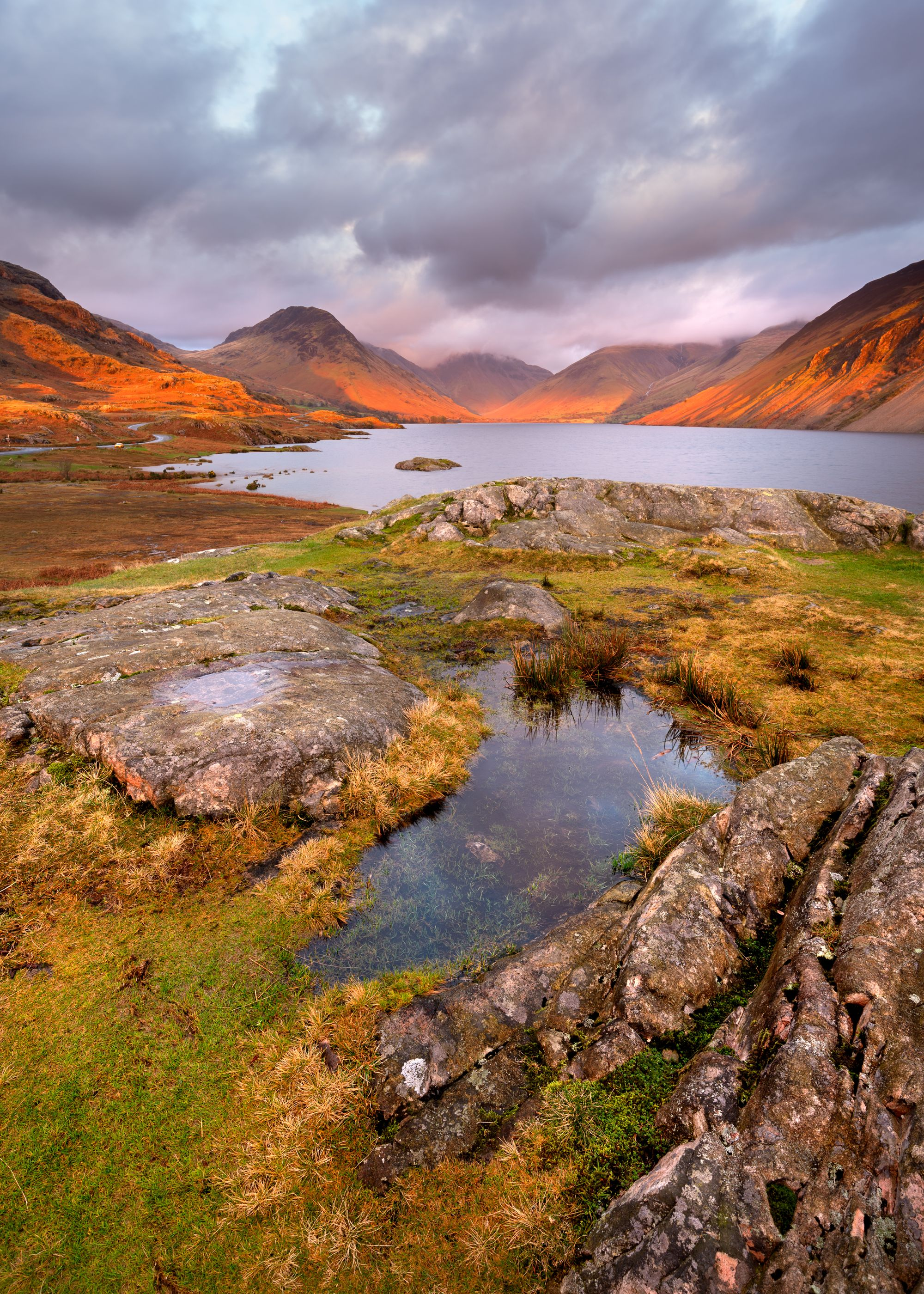 Scenic view of mountains and lake at sunset. Wastwater, Lake District.
