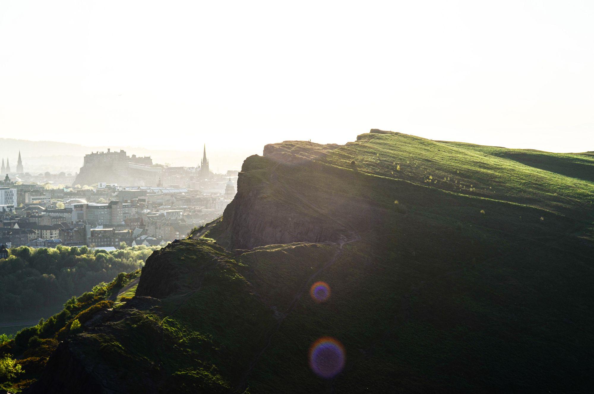 Sun rise over Edinburgh from Arthur's Seat