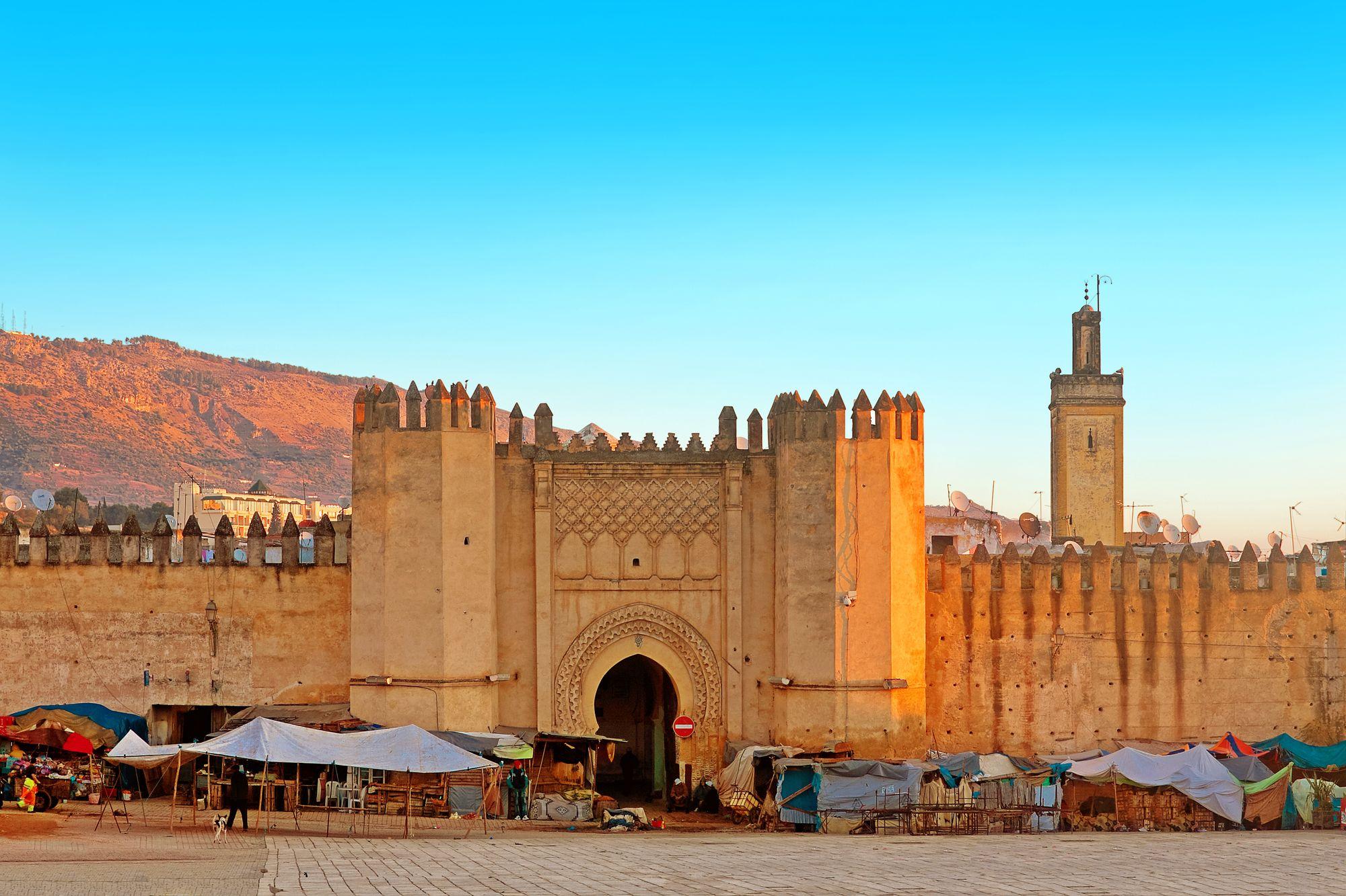Gates to ancient medina of Fez, Morocco