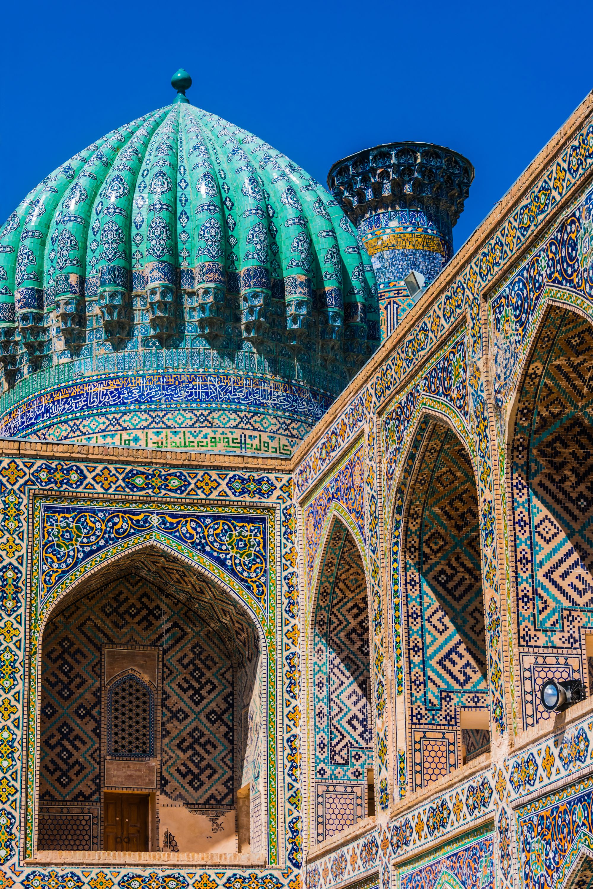 Architecture of Registan, an old public square in the heart of the ancient city of Samarkand, Uzbekistan.