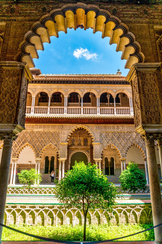 Moorish architecture of Real Alcazar castle in Seville
